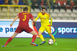 BRUSSELS, BELGIUM - Sunday, November 16, 2014: Wales' Joe Allen in action against Belgium during the UEFA Euro 2016 Qualifying Group B game at the King Baudouin [Heysel] Stadium. (Pic by David Rawcliffe/Propaganda)