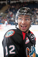 KELOWNA, CANADA - OCTOBER 22: Tyrell Goulbourne #12 talks trash with the Calgary Hitmen on October 22, 2013 at Prospera Place in Kelowna, British Columbia, Canada.   (Photo by Marissa Baecker/Shoot the Breeze)  ***  Local Caption  ***