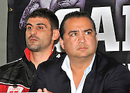 Picture by Alan Stanford/Focus Images Ltd +44 7915 056117<br />03/10/2013<br />Emanuele Leo (L) and manager Roberto Diaz pictured during a Matchroom Sports press conference at International Hotel, Canary Wharf, London.