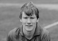 Raymond Hill, footballer, Ards FC, N Ireland, March 1986, 19860302RH<br /> <br /> Copyright Image from Victor Patterson, 54 Dorchester Park, <br /> Belfast, UK, BT9 6RJ<br /> <br /> t1: +44 28 9066 1296 (from Rep of Ireland 048 9066 1296)<br /> t2: +44 28 9002 2446 (from Rep of Ireland 048 9002 2446)<br /> m: +44 7802 353836<br /> <br /> e1: victorpatterson@me.com<br /> e2: victorpatterson@gmail.com<br /> <br /> www.victorpatterson.com<br /> <br /> Please see my Terms and Conditions of Use at VICTORPATTERSON.COM. It is IMPORTANT that you familiarise yourself with them.<br /> <br /> Images used on the Internet must be visibly watermarked i.e. ©VICTORPATTERSON.COM within the body of the image and copyright metadata must not be deleted. Images used on the Internet have a size restriction of 4kbs and are chargeable at the then current NUJ rates.<br /> <br /> This image is only available for the use of the download recipient i.e. television station, newspaper, magazine, book publisher, etc, and must not be passed on to any third party. It is also downloaded on condition that each and every usage is notified within 7 days to victorpatterson@me.com<br /> <br /> The right of Victor Patterson to be identified as the author is asserted in accordance with The Copyright Designs And Patents Act (1988).