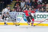 KELOWNA, CANADA - NOVEMBER 21: Tyrell Goulbourne #12 of Kelowna Rockets skates with the puck against the Portland Winterhawks on November 21, 2014 at Prospera Place in Kelowna, British Columbia, Canada.  (Photo by Marissa Baecker/Shoot the Breeze)  *** Local Caption *** Tyrell Goulbourne;