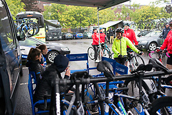 Local riders chat to Team WNT riders before Stage 4 of the OVO Energy Women's Tour - a 123 km road race, starting and finishing in Chesterfield on June 10, 2017, in Derbyshire, United Kingdom. (Photo by Balint Hamvas/Velofocus.com)