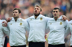Elliot Daly, Chris Robshaw and Jonny May of England sing the national anthem prior to the match - Mandatory byline: Patrick Khachfe/JMP - 07966 386802 - 26/11/2016 - RUGBY UNION - Twickenham Stadium - London, England - England v Argentina - Old Mutual Wealth Series.