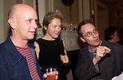 Nick Hornby, Justine Picardie and Jon Ronson, Book launch of Truth or Dare,  edited by Justine Picardie. House of St. Barnabus. Sales of the book at the launch went towards Breast  Cancer  Care. Greek St. London. 30 September 2004. SUPPLIED FOR ONE-TIME USE ONLY-DO NOT ARCHIVE. © Copyright Photograph by Dafydd Jones 66 Stockwell Park Rd. London SW9 0DA Tel 020 7733 0108 www.dafjones.com