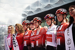 Team Sunweb sign on for Stage 10 of 2019 Giro Rosa Iccrea, a 120 km road race from San Vito al Tagliamento to Udine, Italy on July 14, 2019. Photo by Sean Robinson/velofocus.com