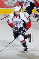 KELOWNA, CANADA, OCTOBER 5: Patrick Holland #41 of the Tri City Americans skates on the ice against the Kelowna Rockets on October 5, 2011 at Prospera Place in Kelowna, British Columbia, Canada (Photo by Marissa Baecker/shootthebreeze.ca) *** Local Caption ***Patrick Holland;