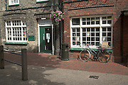 Small local branch library with bike outside, Leiston, Suffolk, England
