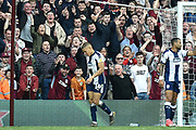 West Bromwich Albion striker (on loan from Newcastle United) Dwight Gayle (16) leaves the field having received a red card during the EFL Sky Bet Championship first leg Play Off match between Aston Villa and West Bromwich Albion at Villa Park, Birmingham, England on 11 May 2019.