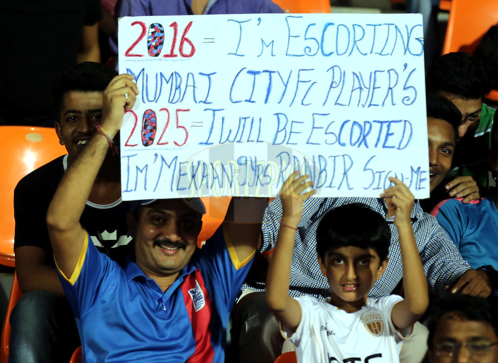 Fan's enjoy's during match 7 of the Indian Super League (ISL) season 3 between Mumbai City FC and NorthEast United FC held at the Mumbai Football Arena in Mumbai, India on the 7th October 2016.<br /> <br /> Photo by Sandeep Shetty / ISL/ SPORTZPICS