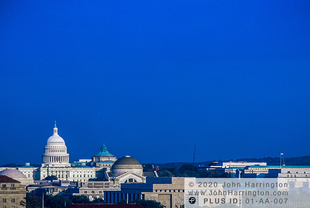 An aerial view of the US Capitol.