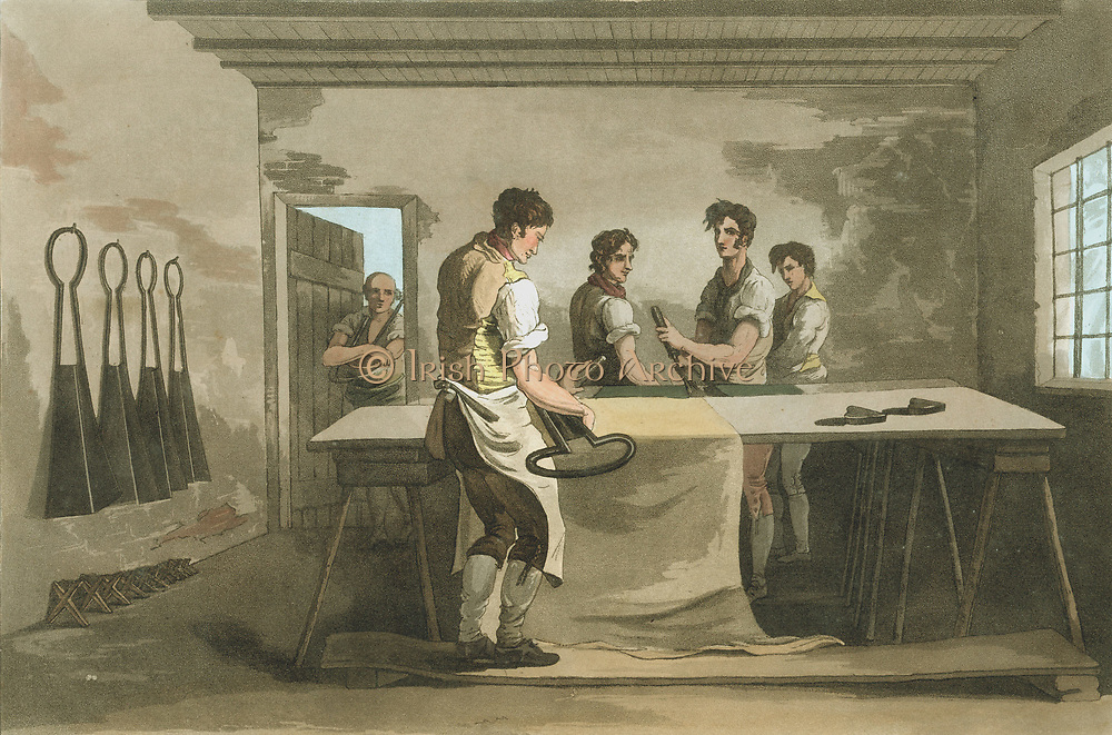 Shearing woollen cloth to remove the nap. From George Walker 'The Costume of Yorkshire' Leeds 1814. Aquatint