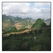 Karstic landscape between Bao Lac and Cao Bang in North Vietnam