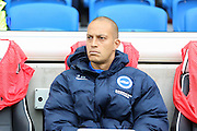 Brighton & Hove Albion forward Bobby Zamora (25) before the Sky Bet Championship match between Brighton and Hove Albion and Preston North End at the American Express Community Stadium, Brighton and Hove, England on 24 October 2015. Photo by Phil Duncan.