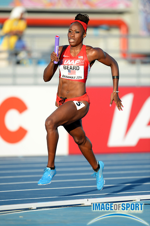 May 24, 2014; Nassau, BAHAMAS; Jessica Beard runs the anchor leg on the United States womens 4 x 400m relay that won its heat in 3:23.84 in the 2014 IAAF World Relays at Thomas A. Robinson Stadium. Photo by Jiro Mochizuki