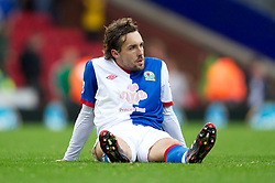 BLACKBURN, ENGLAND - Sunday, October 23, 2011: Blackburn Rovers' Gael Givet looks dejected as his side lost 2-1 at home to Tottenham Hotspur after the Premiership match at Ewood Park. (Pic by Vegard Grott/Propaganda)