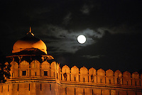 A full moon over the Red Fort, in Delhi, India