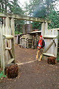 A sentry at the entrance to Fort Clatsop (Lewis & Clark's 1805-1806 winter post), Fort Clatsop National Memorial, Astoria, Oregon