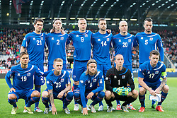 30.05.2014, Tivoli Stadion, Innsbruck, AUT, Fussball Testspiel, Oesterreich vs Island, im Bild Mannschaftsfoto Island, vorne v.l. Rurik Gislason, Ari Freyr Skulason, Birkir Bjarnason, Hannes Por Halldorsson, Aron Einar Gunnarsson, hinten v.l. Vioar Kjartansson, Birkir Mar Saevarsson, Kolbeinn Sigthorsson, Kari Arnason, Emil Hallfredsson, Sölvi Geir Ottesen Jonsson // Teampicture Iceland, 1st Row from left. Rurik Gislason, Ari Freyr Skulason, Birkir Bjarnason, Hannes Por Halldorsson, Aron Einar Gunnarsson second Row from left: Vioar Kjartansson, Birkir Mar Saevarsson, Kolbeinn Sigthorsson, Kari Arnason, Emil Hallfredsson, Sölvi Geir Ottesen Jonsson during the International Friendly between Austria and Iceland at the Tivoli Stadion in Innsbruck, Austria on 2014/05/30. EXPA Pictures © 2014, PhotoCredit: EXPA/ Johann Groder