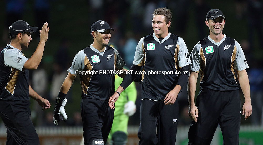 L_R Captain Ross Taylor, Peter McGlashan, Tim Southee and James Franklin celebrate victory over Pakistan. New Zealand Black Caps v Pakistan, Match 2. Twenty 20 Cricket match at Seddon Park, Hamilton, New Zealand. Tuesday 28 December 2010. Photo: Andrew Cornaga/photosport.co.nz