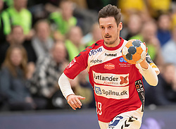 Mark Strandgaard (Aalborg Håndbold) under kampen i Herrehåndbold Ligaen mellem Nordsjælland Håndbold og Aalborg Håndbold den 27. november 2019 i Helsinge Hallen (Foto: Claus Birch).
