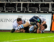 Luke Morgan of Ospreys is bundled into touch short of the line<br /> <br /> Photographer Simon King/Replay Images<br /> <br /> Guinness PRO14 Round 8 - Ospreys v Cardiff Blues - Saturday 21st December 2019 - Liberty Stadium - Swansea<br /> <br /> World Copyright © Replay Images . All rights reserved. info@replayimages.co.uk - http://replayimages.co.uk