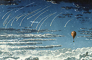 Leonid meteor shower. The Leonids are visible in the night sky during November, and this observation was made by the French aeronauts Henri Giffard (1825-1882) and W de Fonvielle during a trip in the balloon 'L'Hirondelle'.  From 'Voyages Aeriens'. (Paris, 1870).