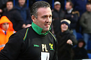 Colchester - Saturday January 16th, 2010:  Norwich Manager Paul Lambert takes to the pitch before the Coca Cola League One match at the Weston Homes Community Stadium, Colchester. (Pic by Paul Chesterton/Focus Images).