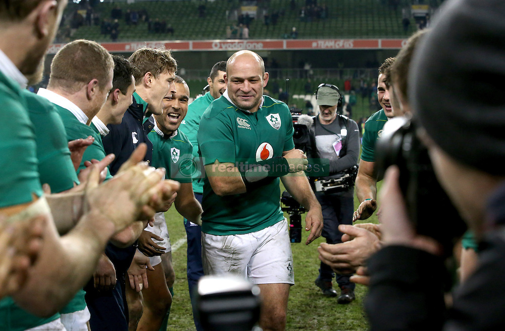 Ireland's captain Rory Best celebrates with teammates after the Autumn International match at the Aviva Stadium, Dublin.