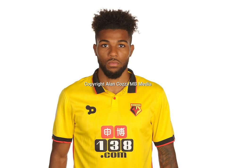 Watford FC Season 2016-17 Premier Lge<br /> Pic Alan Cozzi 02/08/2016<br /> Sopwell House Photocall Headshot's<br /> Watford's Jerome Sinclair