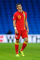 Gareth Bale of Wales (Real Madrid) looks frustrated during the second half of the match - Photo mandatory by-line: Rogan Thomson/JMP - Tel: Mobile: 07966 386802 10/09/2013 - SPORT - FOOTBALL - Cardiff City Stadium - Cardiff -  Wales V Serbia- World Cup Qualifier.