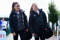 Kirsten Reilly and Meaghan Sargeant of Bristol City arrives at SGS College Stoke Gifford Stadium prior to kick off - Mandatory by-line: Ryan Hiscott/JMP - 29/09/2019 - FOOTBALL - SGS College Stoke Gifford Stadium - Bristol, England - Bristol City Women v Chelsea Women - FA Women's Super League