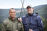 Bryan Clay and Jeremy Campbell are accustomed to competing in front of tens of thousands of spectators in some of the world's greatest sporting arenas, but today the American athletic stars were the picture of relaxation as they indulged in a spot of fishing on the banks of the River Tay.. .Clay, the reigning Olympic decathlon champion, and Campbell, who scooped gold in the pentathlon and discus at the 2008 Paralympics in Beijing, were staying at the East Haugh Hotel, Pitlochry, at the weekend  as part of a drive to promote UK tourism ahead of next year's 2012 London Olympic Games.. .The two athletes, whose tour of Scotland has been organised by VisitScotland and VisitBritain in co-operation with the U.S. Olympic Committee, were in Pitlochry as part of Team USA: Britain Bound. The athletes will document their tour of Scotland, including their visit to Perthshire, through images, video and blogs posted on www.TeamUSA.org/BritainBound.. .Pic shows Bryan and Jeremy