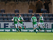 24th January 2018, Dens Park, Dundee, Scottish Premiership, Dundee versus Hibernian; Hibernian's John McGinn celebrates after scoring for 1-0