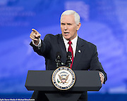 Vice President Mike Pence at  the American Conservative Union's 2017 Conservative Political Action Conference (CPAC)