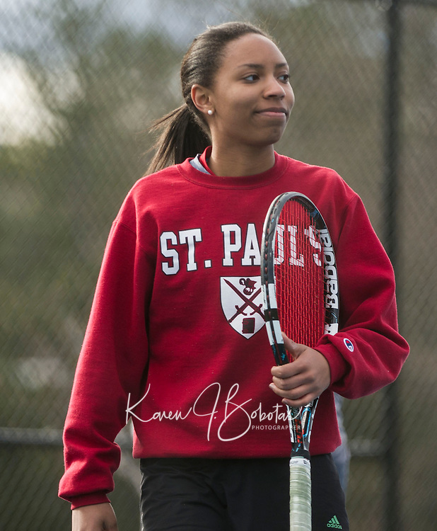 St Paul's School varsity girls tennis.  Karen Bobotas Photographer