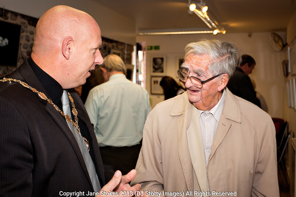 Anthony White, Mayor of Seaford with Denis Healey President of Seaford Photographic Society<br /> <br /> Seaford Photographic Society 2013 Exhibition opening in the Crypt Gallery in Seaford East Sussex by the President;  The Right Honourable The Lord Denis Healey former Deputy Leader of the Labour Party. Free entry and open 1000-1700 from 21 September to 6 October 2013