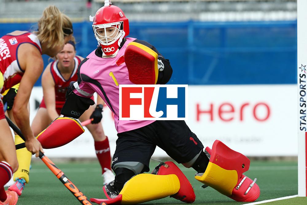 New Zealand, Auckland - 25/11/17  <br /> Sentinel Homes Women&rsquo;s Hockey World League Final<br /> Harbour Hockey Stadium<br /> Copyrigth: Worldsportpics, Rodrigo Jaramillo<br /> Match ID: 10309 - USA vs CHN<br /> Photo: \\(24) SHARKEY Kathleen attack (1) LI Dongxiao&nbsp;(GK) (C)
