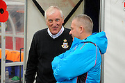 Eastleigh manager Ronnie Moore talking to York City manager Gary Mills before the Vanarama National League match between Eastleigh and York City at Arena Stadium, Eastleigh, United Kingdom on 12 November 2016. Photo by Graham Hunt.