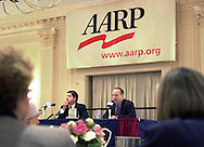 State Senator James Gerlach (R-Pa. 6th Congressional District), left, and Democratic candidate Dan Wofford, right, participate in a Pennsylvania 6th Congressional District candidates forum, sponsored by the AARP, Saturday, October 12, 2002, in Malvern, Pa. The forum is one of nine election forums the AARP is hosting throughout Pennsylvania before election day on November 5th. (Photo by William Thomas Cain/photodx.com)