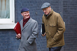 © licensed to London News Pictures. London, UK 04/02/2014. David Willetts and Chief Whip Sir George Young attending to a cabinet meeting in Downing Street on Tuesday, 4 February 2014. Photo credit: Tolga Akmen/LNP