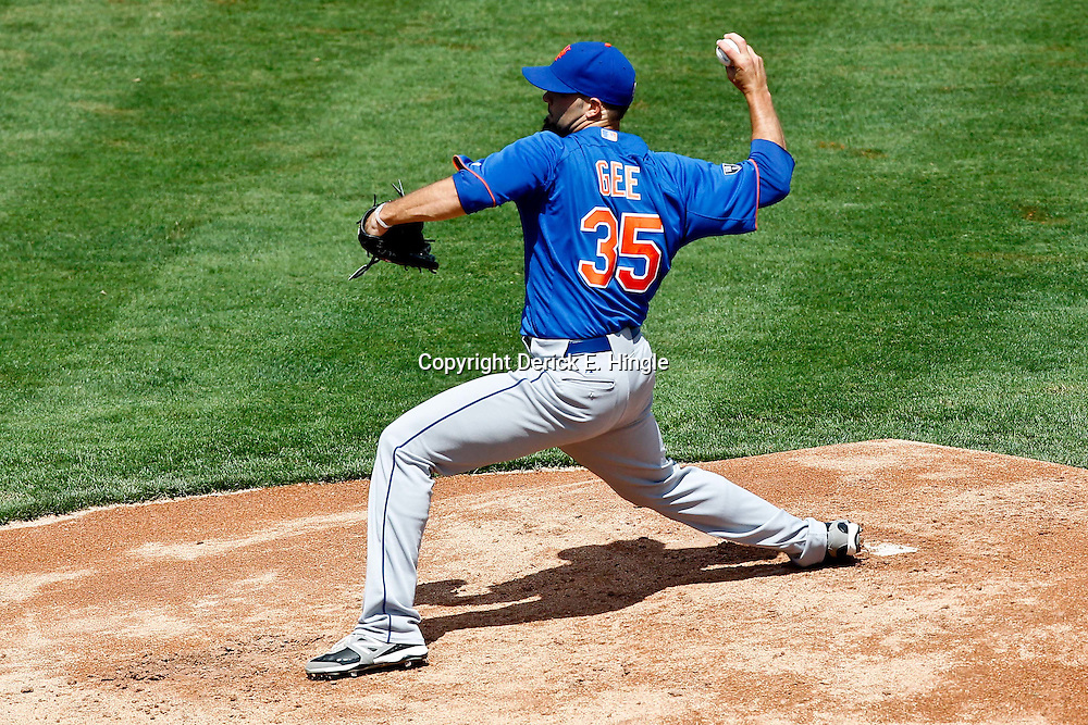 March 14, 2012; Lakeland, FL, USA; New York Mets starting pitcher Dillon Gee (35) throws during a spring training game against the Detroit Tigers at Joker Marchant Stadium. Mandatory Credit: Derick E. Hingle-US PRESSWIRE