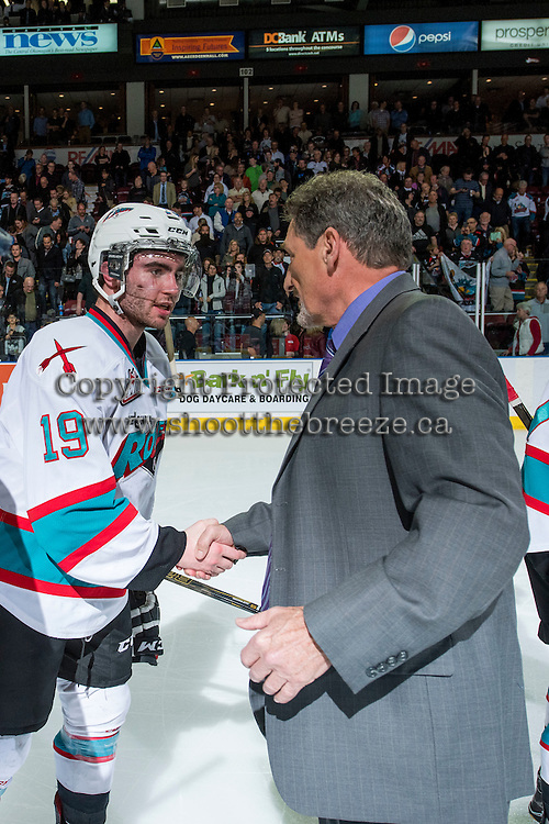 KELOWNA, CANADA - APRIL 4: Dillon Dube #19 of Kelowna Rockets shakes hands with Don Hay, head coach of the Kamloops Blazers after a game 7 win in the first round of the WHL playoffs on April 4, 2016 at Prospera Place in Kelowna, British Columbia, Canada.  (Photo by Marissa Baecker/Shoot the Breeze)  *** Local Caption *** Dillon Dube; Don Hay;