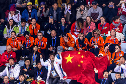 22-02-2018 KOR: Olympic Games day 13, PyeongChang<br /> Short Track Speedskating / Support publiek, Oranje, Erben, Jorien Ter Mors, Lara Van Ruijven, Yara Van Kerkhof of the Netherlands