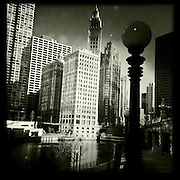 Photo By Michael R. Schmidt.Iphone 4s Hipstamatic photo of downtown Chicago and the Chicago River. 2012.