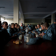 Afghan National Police (ANP) cadets take their breakfast at the Afghan Nacional Police Academy in Kabul.