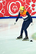 Graz, Austria - 2017 March 22: Mohamed Rebel from  Netherlands competes in Speed Skating 222 meters race while Special Olympics World Winter Games Austria 2017 at Icestadium Graz Liebenau on March 22, 2017 in Graz, Austria.<br /> <br /> Mandatory credit:<br /> Photo by &copy; Adam Nurkiewicz / Mediasport<br /> <br /> Adam Nurkiewicz declares that he has no rights to the image of people at the photographs of his authorship.<br /> <br /> Picture also available in RAW (NEF) or TIFF format on special request.<br /> <br /> Any editorial, commercial or promotional use requires written permission from the author of image.<br /> <br /> Image can be used in the press when the method of use and the signature does not hurt people on the picture.