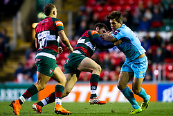 Wynand Olivier of Worcester Warriors is tackled by Jonah Holmes of Leicester Tigers - Mandatory by-line: Robbie Stephenson/JMP - 03/11/2018 - RUGBY - Welford Road Stadium - Leicester, England - Leicester Tigers v Worcester Warriors - Gallagher Premiership Rugby