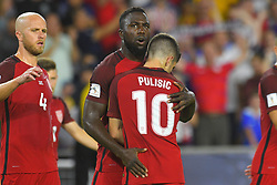 October 6, 2017 - Orlando, Florida, USA - United States midfielder Christian Pulisic (10) and forward Jozy Altidore (17) celebrate a goal during a World Cup qualifying game at Orlando City Stadium on Oct. 6, 2017 in Orlando, Florida.  The US beat Panama 4-0....Zuma Press/Scott Miller (Credit Image: © Scott A. Miller via ZUMA Wire)