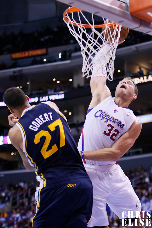 23 October 2013: Los Angeles Clippers power forward Blake Griffin (32) dunks over Utah Jazz center Rudy Gobert (27) during the Los Angeles Clippers 103-99 victory over the Utah Jazz at the Staples Center, Los Angeles, California, USA.