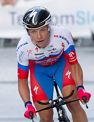 Klemen Stimulak (SLO) of Adria Mobil competes during Stage 1of  cycling race 20th Tour de Slovenie 2013 - Time Trial 8,8 km in Ljubljana,  on June 12, 2013 in Slovenia. (Photo By Vid Ponikvar / Sportida)